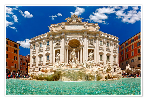 Premiumposter Trevi Fountain or Fontana di Trevi in ??summer