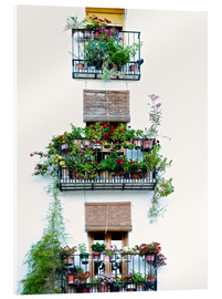 Akrylglastavla  Facade with balconies full of flowers in Valencia