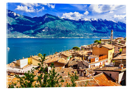 Akrylglastavla  Beautiful Limone village, panoramic view, Lago di Garda, Italy