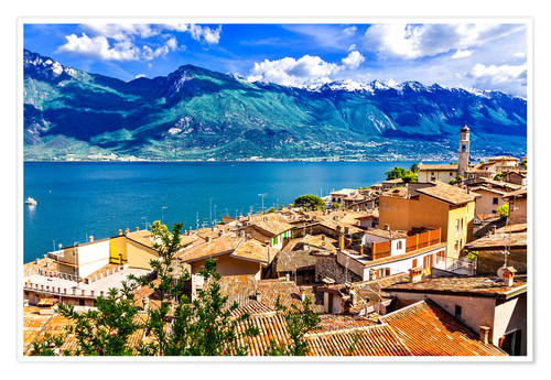 Premiumposter Beautiful Limone village, panoramic view, Lago di Garda, Italy