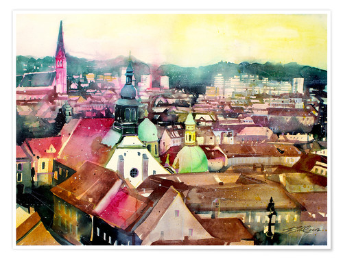 Premiumposter Graz, view to the cathedral