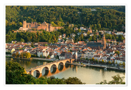 Premiumposter View of the Old Town of Heidelberg from the Philosophenweg