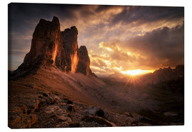 Canvastavla  Three Peaks Dolomites Sunset - Christian Möhrle