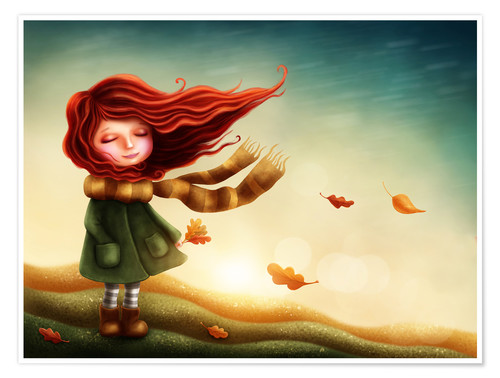 Premiumposter Girl in the autumn wind