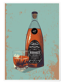 Premiumposter  Whiskey bottle and glass