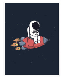 Premiumposter  Liten astronaut med raket - Kidz Collection