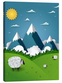 Canvastavla  Paper landscape with sheep - Kidz Collection