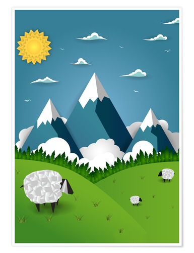 Premiumposter Paper landscape with sheep