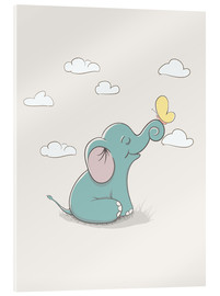 Akrylglastavla  Little elephant with butterfly - Kidz Collection