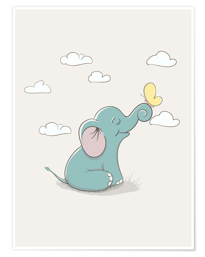 Premiumposter Little elephant with butterfly