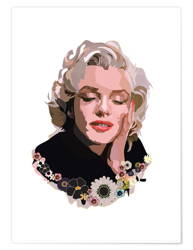 Premiumposter Marilyn Monroe With Flowers