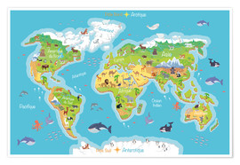 Poster  World map for children (French) - Kidz Collection