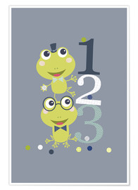 Premiumposter  Frogs playing with numbers - Jaysanstudio
