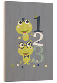 Trätavla  Frogs playing with numbers - Jaysanstudio