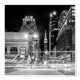 Premiumposter Ninth Ave, New Yorker * Empire State Building (monochrome)