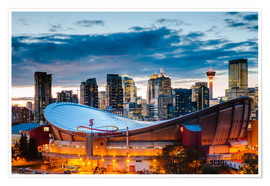 Premiumposter Stadium och Skyline of Calgary, Kanada