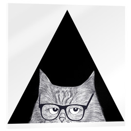 Akrylglastavla  Smart cat in triangle - Valeriya Korenkova