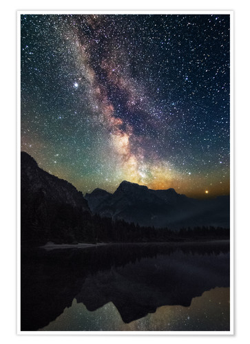 Premiumposter Milky Way over the mountains