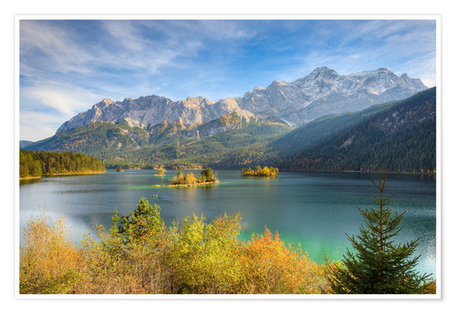 Premiumposter Autumn at the Eibsee with a view to the Zugspitze
