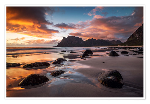 Premiumposter Sunset in Lofoten, Norway
