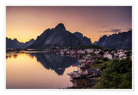 Premiumposter Sunset in Reine, Lofoten, Norway