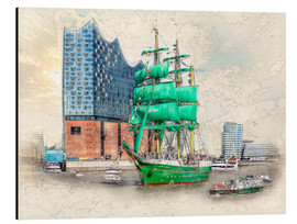 Aluminiumtavla  Hamburg Elbphilharmonie with the sailing ship Alexander von Humboldt - Peter Roder