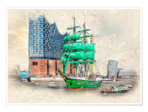 Premiumposter Hamburg Elbphilharmonie with the sailing ship Alexander von Humboldt