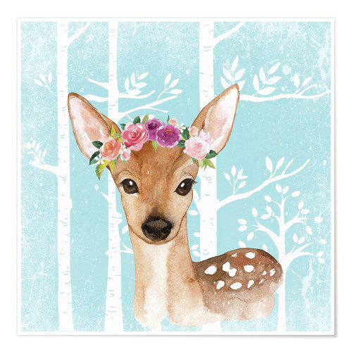 Premiumposter Glamorous fawn with blossoms in the blue forest