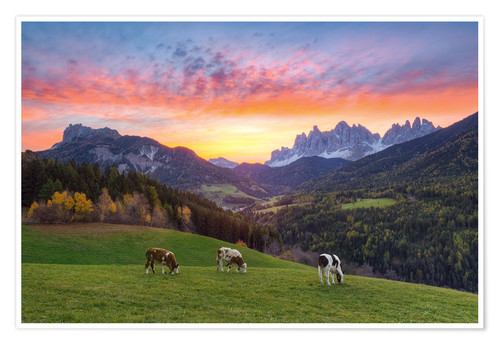 Premiumposter View into the Villnöss Valley in South Tyrol at sunrise