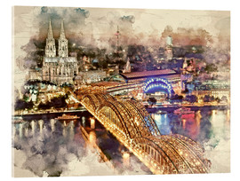 Akrylglastavla  Cologne Skyline Cologne Cathedral - Peter Roder