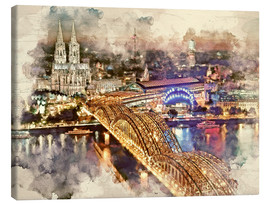 Canvastavla  Cologne Skyline Cologne Cathedral - Peter Roder