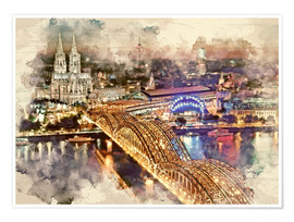 Premiumposter  Cologne Skyline Cologne Cathedral - Peter Roder
