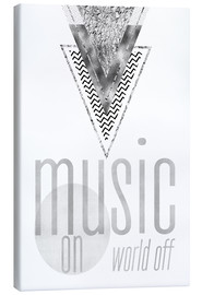 Canvastavla  GRAPHIC ART SILVER Music on World Off - Melanie Viola