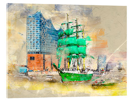 Akrylglastavla  Hamburg Elbphilharmonie with the sailing ship Alexander von Humboldt - Peter Roder