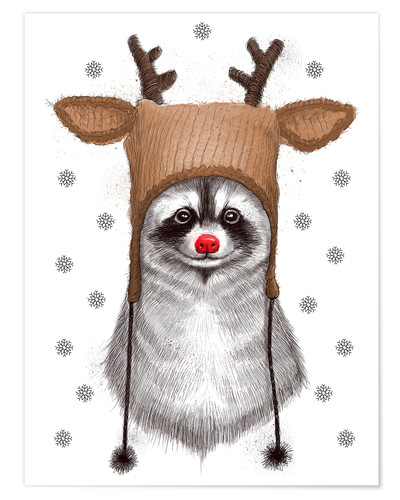 Premiumposter Raccoon in Deer Hat