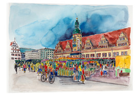 Akrylglastavla  Leipzig Weekly market in front of the Old Town Hall - Hartmut Buse