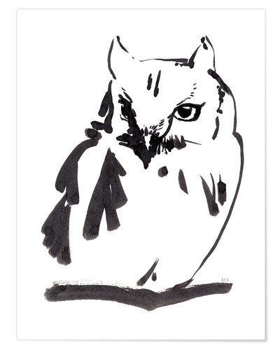 Premiumposter Owl ink drawing