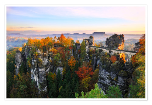 Premiumposter Bastei Bridge in Saxon Switzerland
