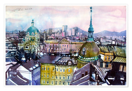Premiumposter  Vienna, view to the Karls church - Johann Pickl