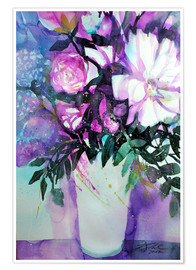 Premiumposter White peonies with lilac