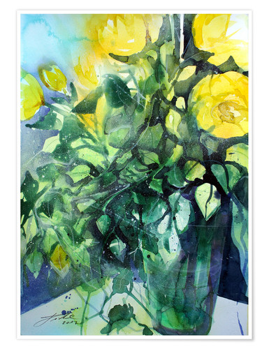 Premiumposter Yellow roses with ivy in vase