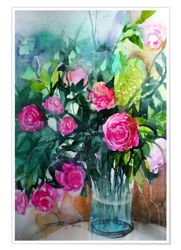 Premiumposter Pink shrub roses in vase