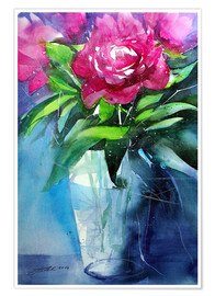 Premiumposter Red peonies in vase