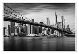 Premiumposter New York City - Brooklyn Bridge and Skyline