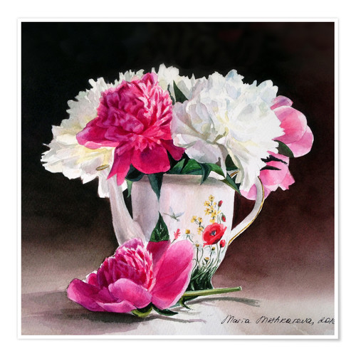 Premiumposter Porcelain and peonies