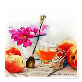 Premiumposter Peaches and flowers watercolor painting