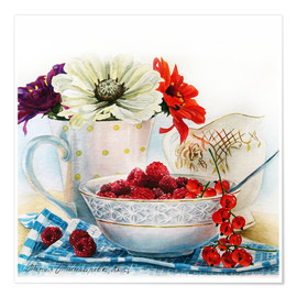 Premiumposter Flowers and berries watercolor painting