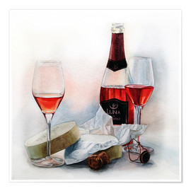 Premiumposter Wine and cheese watercolor painting