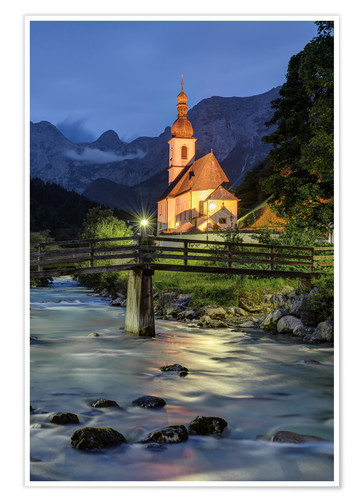 Premiumposter Church in Ramsau near Berchtesgaden in the evening