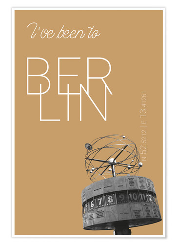 Premiumposter Popart Berlin World Clock I have been to Color: Pale gold